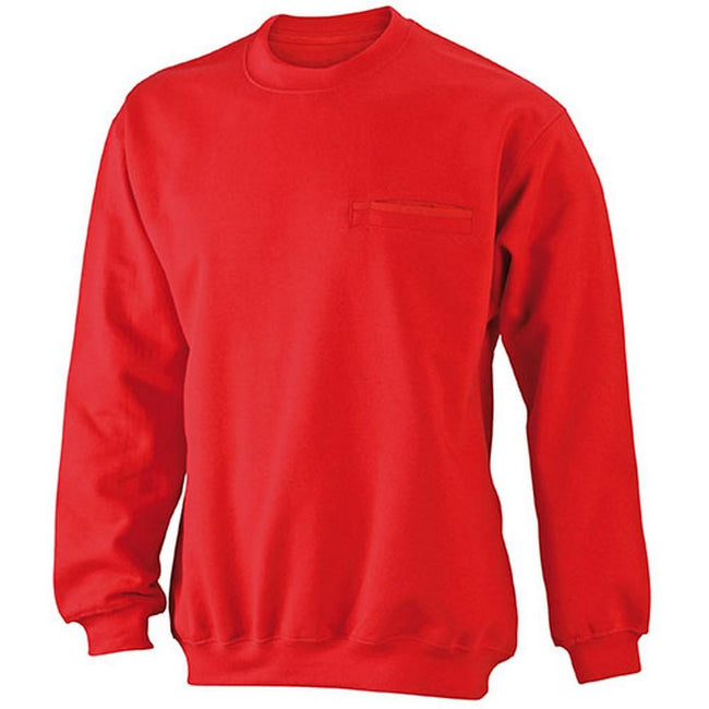 Red - Front - James and Nicholson Mens Round Pocket Sweatshirt