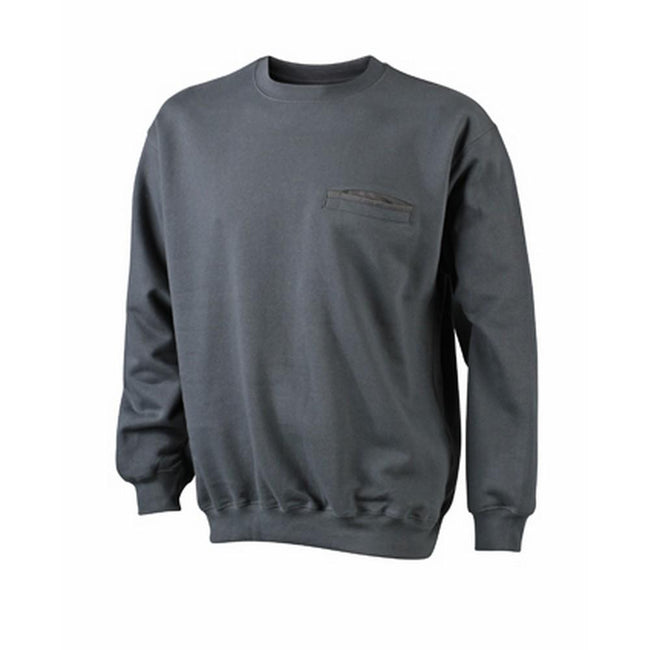 Graphite - Front - James and Nicholson Mens Round Pocket Sweatshirt
