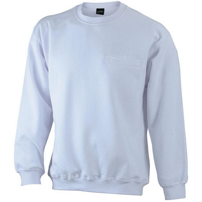 White - Front - James and Nicholson Mens Round Pocket Sweatshirt