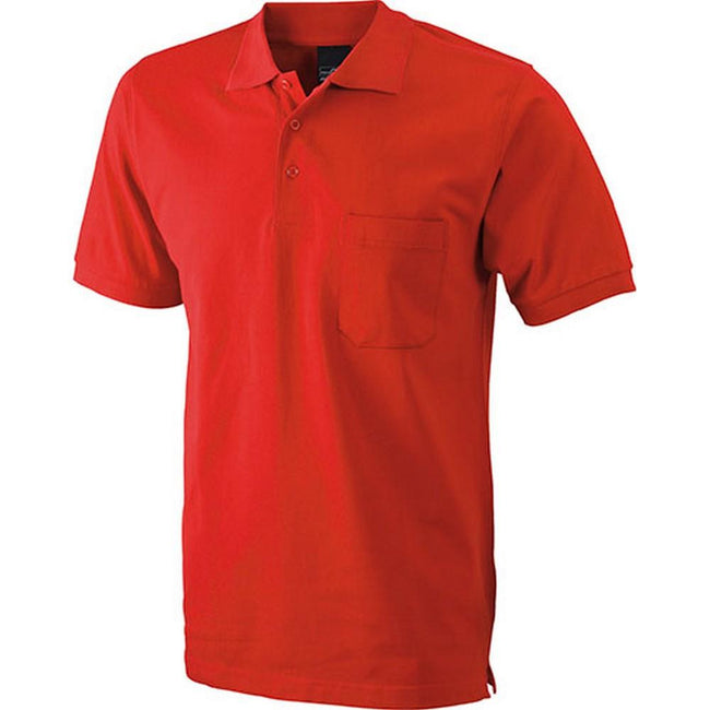 Red - Front - James And Nicholson Mens Polo Pocket