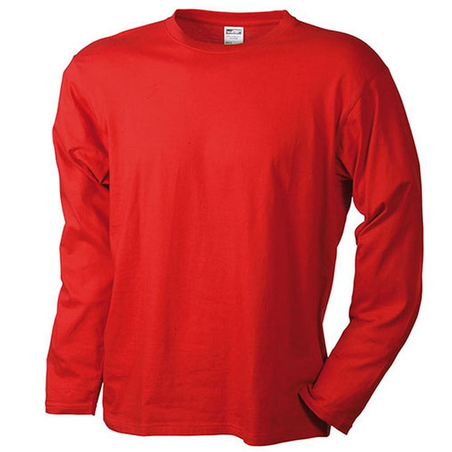 Red - Front - James and Nicholson Mens Medium Long-Sleeved T-Shirt