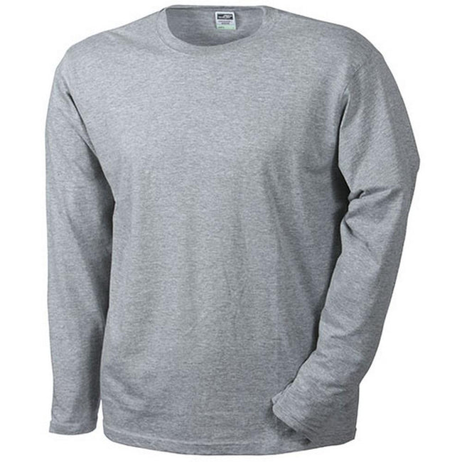 Grey Heather - Front - James and Nicholson Mens Medium Long-Sleeved T-Shirt
