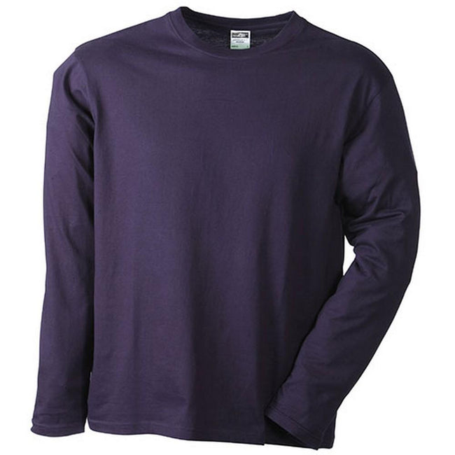 Aubergine - Front - James and Nicholson Mens Medium Long-Sleeved T-Shirt