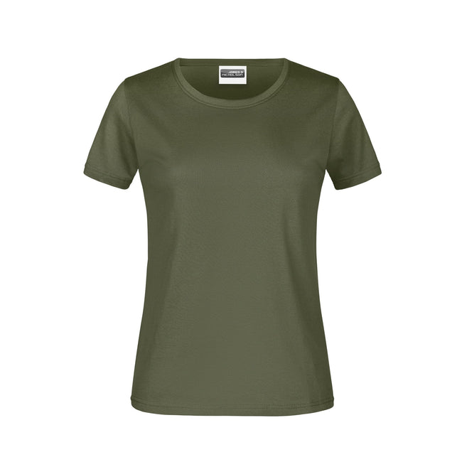 Olive - Front - James And Nicholson Womens-Ladies Basic T-Shirt
