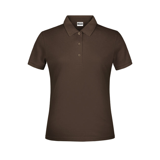 Brown - Front - James And Nicholson Womens-Ladies Basic Polo Shirt