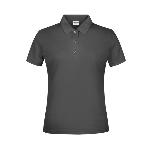 Graphite - Front - James And Nicholson Womens-Ladies Basic Polo Shirt