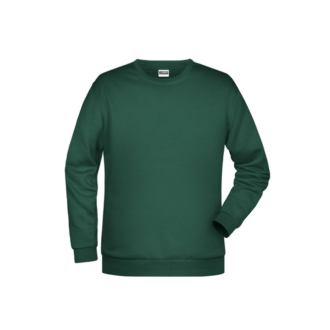 Dark Green - Front - James And Nicholson Mens Basic Sweatshirt