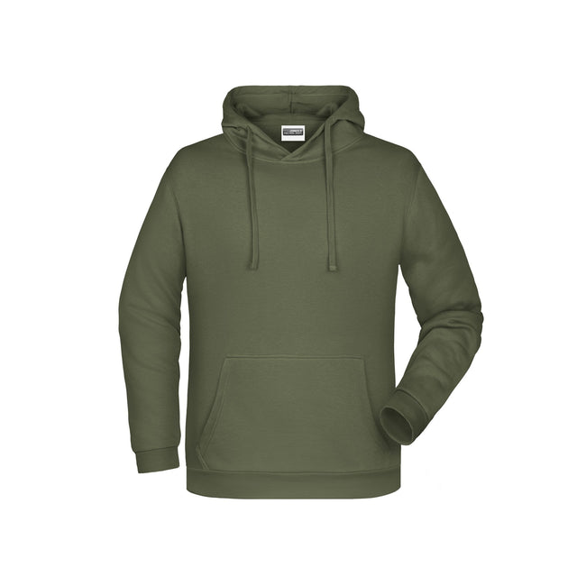 Olive - Front - James And Nicholson Mens Basic Hoodie