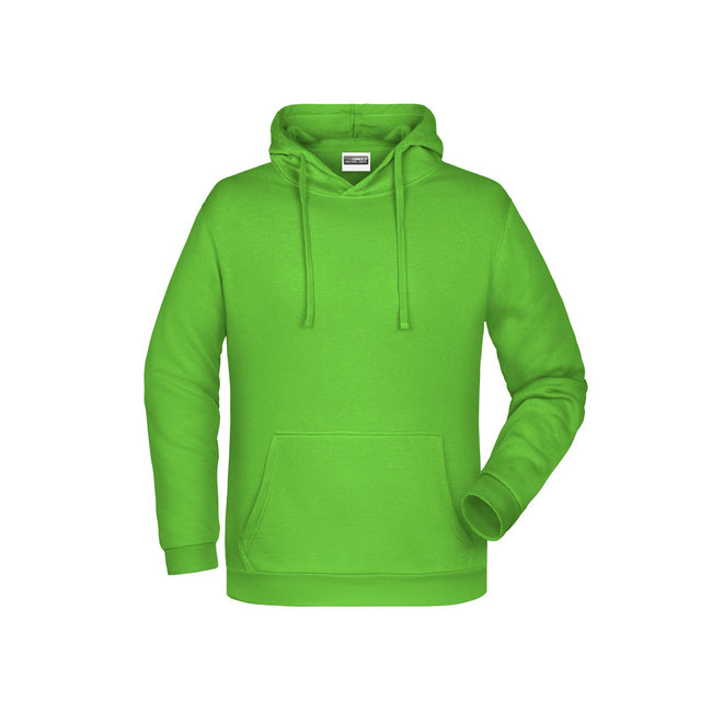 Lime Green - Front - James And Nicholson Mens Basic Hoodie