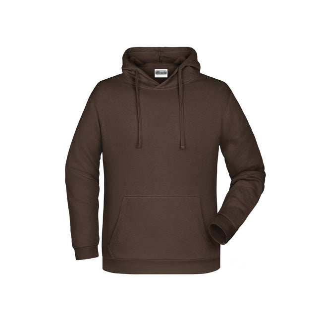 Brown - Front - James And Nicholson Mens Basic Hoodie