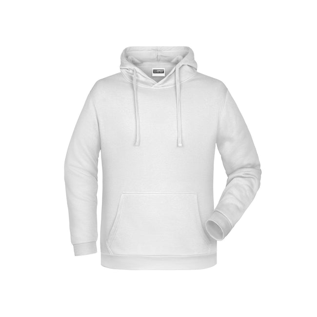 White - Front - James And Nicholson Mens Basic Hoodie