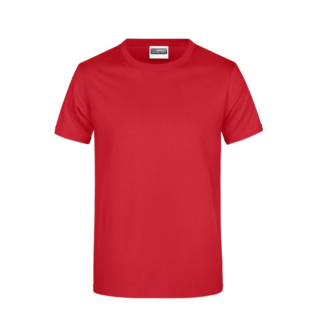 Red - Front - James And Nicholson Mens Basic T-Shirt