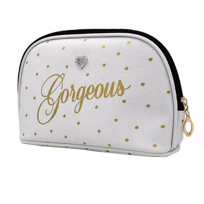 White - Front - Gorgeous Dot Print Cosmetic Wash Bag