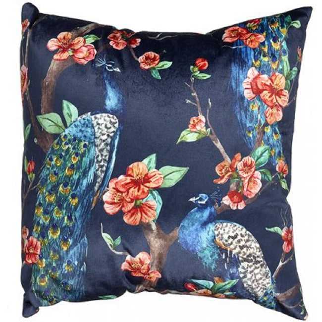 Navy Blue - Front - Faux Velvet Peacock Cushion