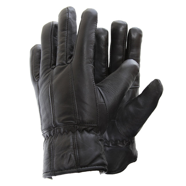 Black - Front - Mens Soft Sheep Skin Genuine Leather Gloves