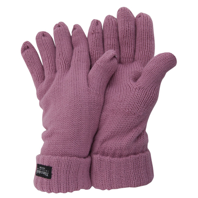 Pink - Front - FLOSO Ladies-Womens Thinsulate Winter Knitted Gloves (3M 40g)