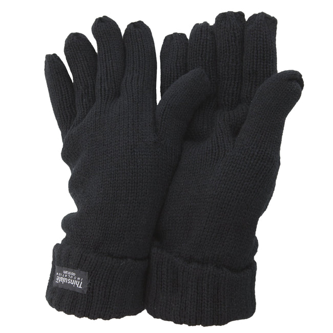 Black - Front - FLOSO Ladies-Womens Thinsulate Winter Knitted Gloves (3M 40g)