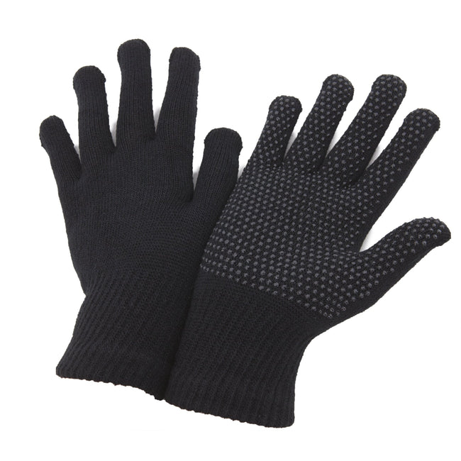 Black - Front - FLOSO Unisex Magic Gloves With Grip