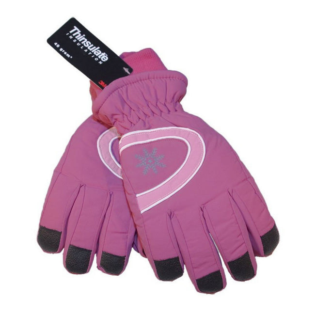 Pink - Back - Floso Ladies-Womens Thinsulate Extra Warm Thermal Padded Winter-Ski Gloves With Palm Grip (3M 40g)
