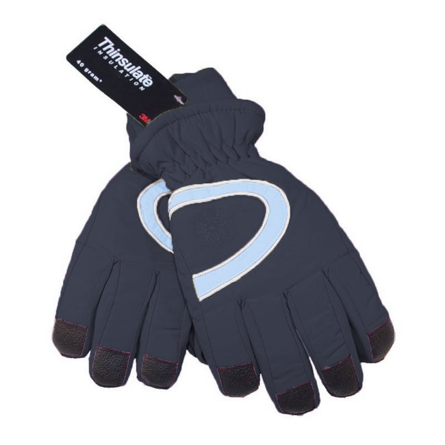Navy - Back - Floso Ladies-Womens Thinsulate Extra Warm Thermal Padded Winter-Ski Gloves With Palm Grip (3M 40g)