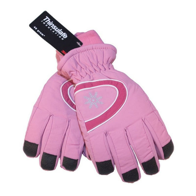 Baby Pink - Back - Floso Ladies-Womens Thinsulate Extra Warm Thermal Padded Winter-Ski Gloves With Palm Grip (3M 40g)