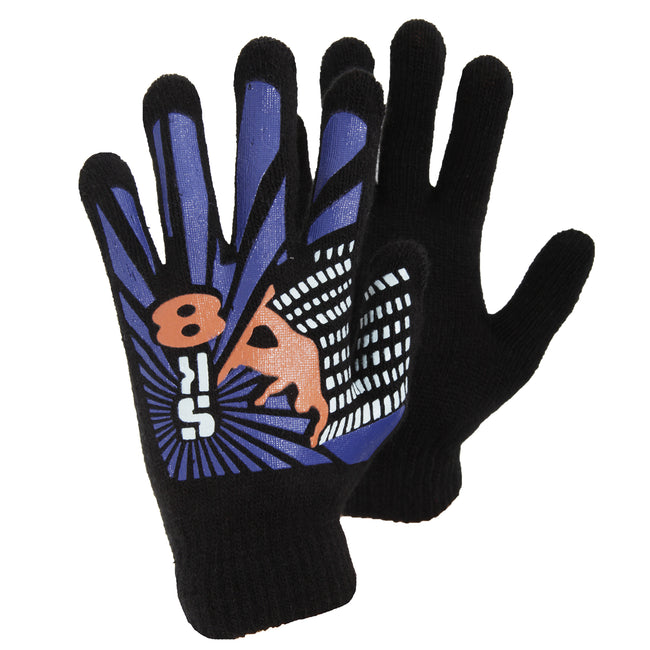 Design 5 - Front - Boys Black Winter Magic Gloves With Rubber Print