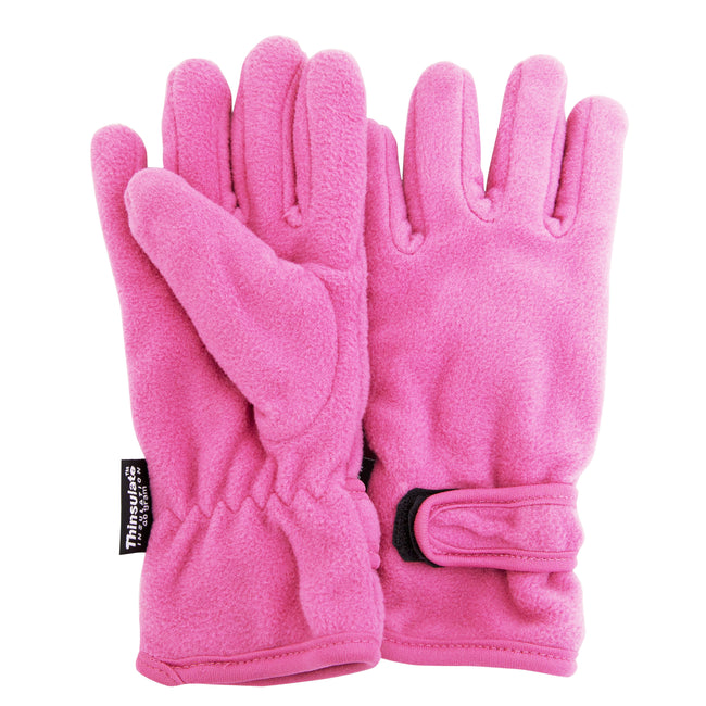 Pink - Front - FLOSO Girls Childrens-Kids Plain Thermal Thinsulate Fleece Gloves (3M 40g)