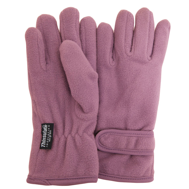 Lilac - Front - FLOSO Girls Childrens-Kids Plain Thermal Thinsulate Fleece Gloves (3M 40g)
