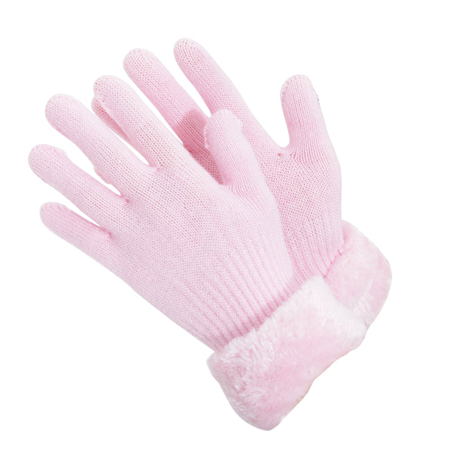 Baby Pink - Front - Childrens-Girls Faux Fur Cuff Knitted Winter Gloves
