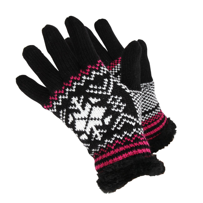Black-Pink - Front - RockJock Womens-Ladies Knit Style Gloves