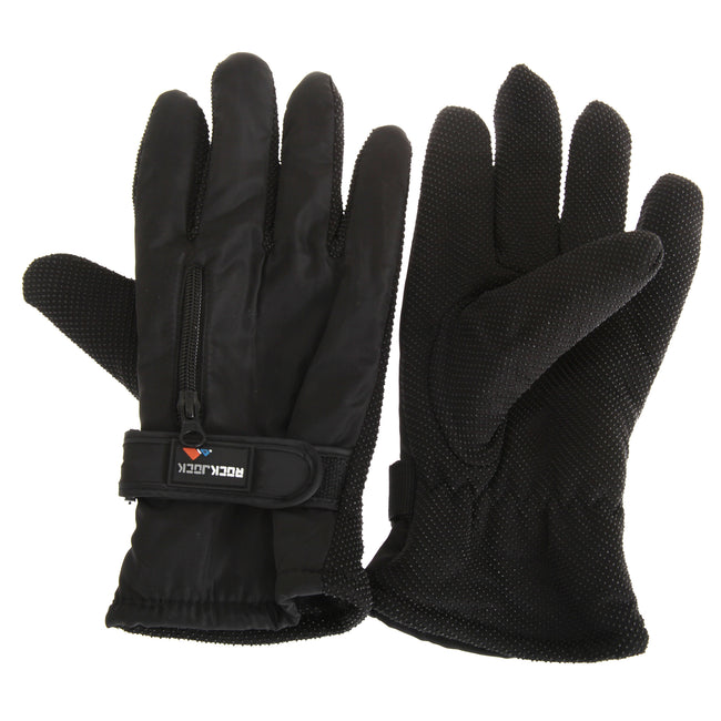 Black - Front - RockJock Mens Thermal Insulation Touch Fasten Gloves