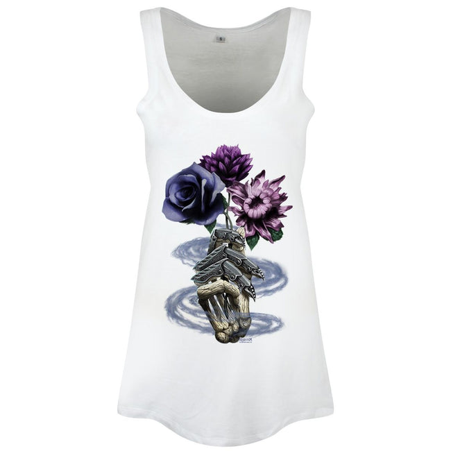 White - Front - Requiem Collective Ladies-Womens Death`s Bouquet Floaty Tank