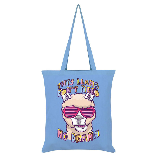 Sky Blue - Front - Grindstore This Llama Don`t Need No Drama Tote Bag