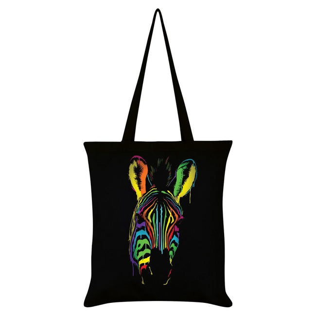 Black - Front - Unorthodox Collective Neon Zebra Tote Bag