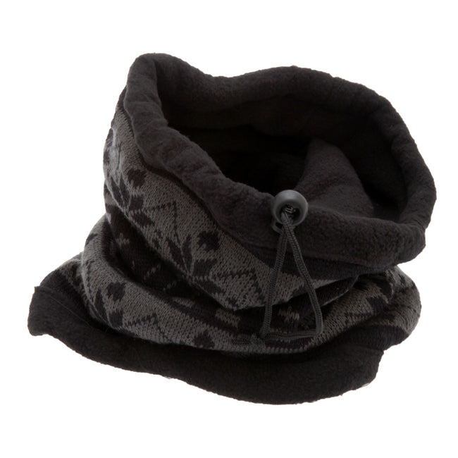 Black-Grey - Front - Unisex Patterned Snowflake Design Multifunctional Winter Hat - Snood - Mask