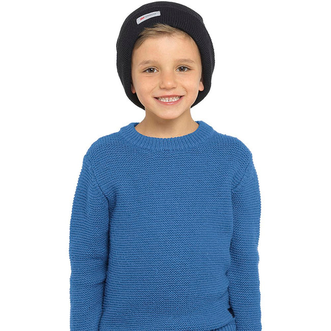 Navy - Front - FLOSO Kids-Childrens Knitted Winter-Ski Hat With Thinsulate Lining (3M 40g)
