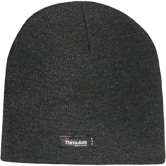 Grey - Back - FLOSO Kids-Childrens Knitted Winter-Ski Hat With Thinsulate Lining (3M 40g)