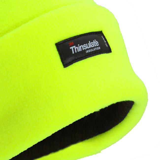 Neon Yellow - Back - FLOSO Mens Hi Vis Thinsulate Thermal Fleece Winter Beanie Hat (3M 40g)