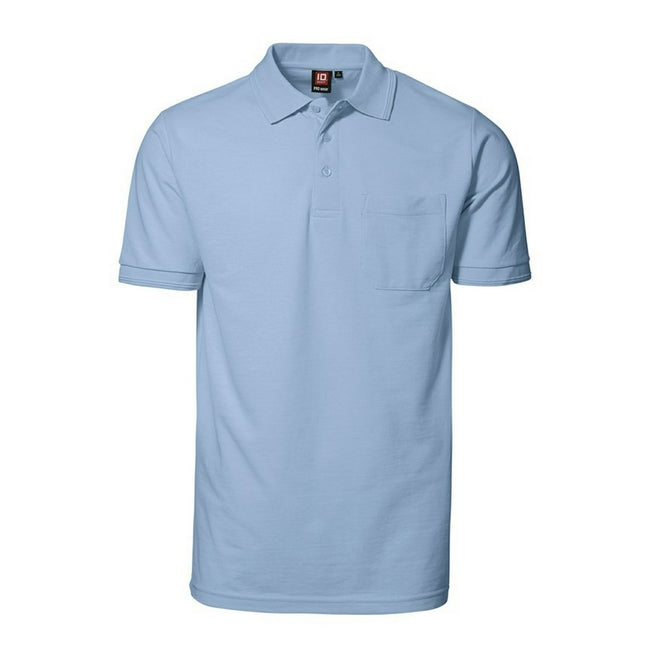 Light blue - Front - ID Mens Pro Wear Short Sleeve Regular Fitting Polo Shirt With Pocket