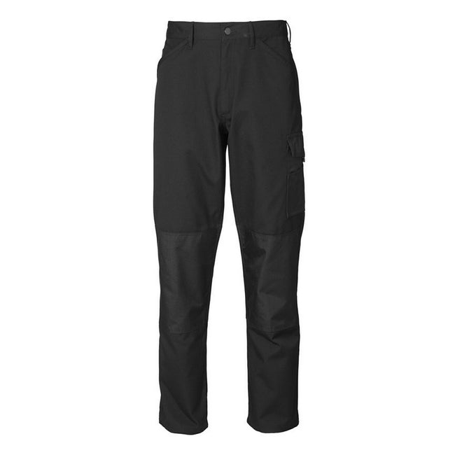 Black - Front - ID Mens Reinforced Fitted Worker Trousers