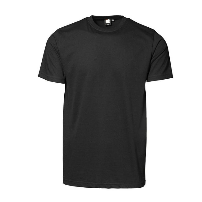 Black - Front - ID Unisex Yes Short Sleeve Fitted Plain Cotton T-Shirt