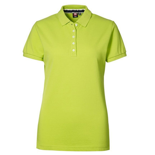 Lime - Front - ID Womens-Ladies Casual Pique Fitted Short Sleeve Polo Shirt