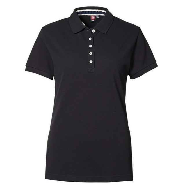 Black - Front - ID Womens-Ladies Casual Pique Fitted Short Sleeve Polo Shirt