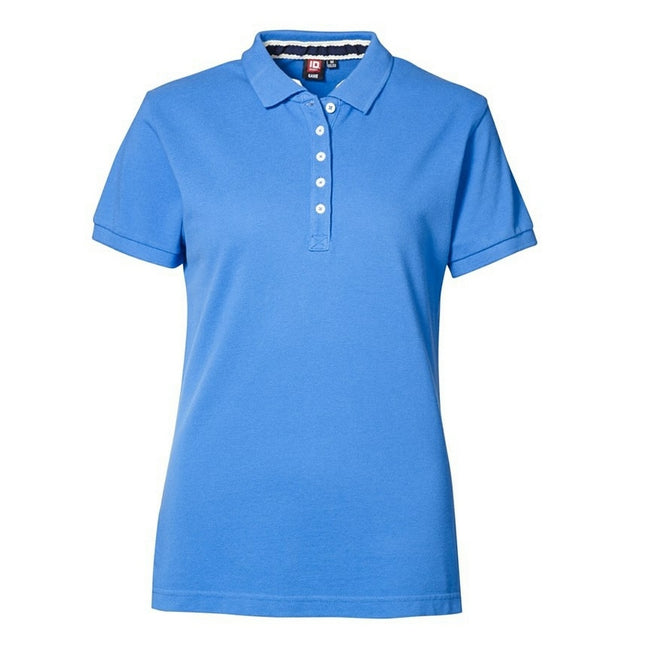 Azure - Front - ID Womens-Ladies Casual Pique Fitted Short Sleeve Polo Shirt
