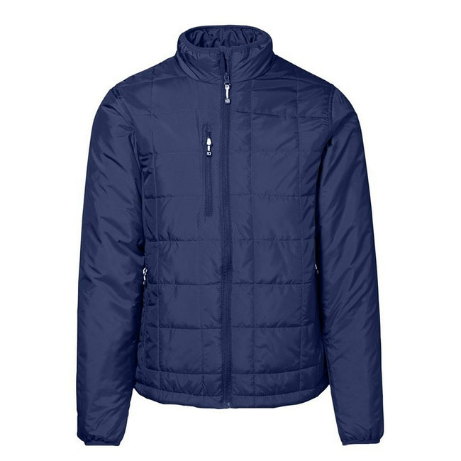 Navy - Front - ID Mens Quilted Regular Fitting Full Zip Jacket