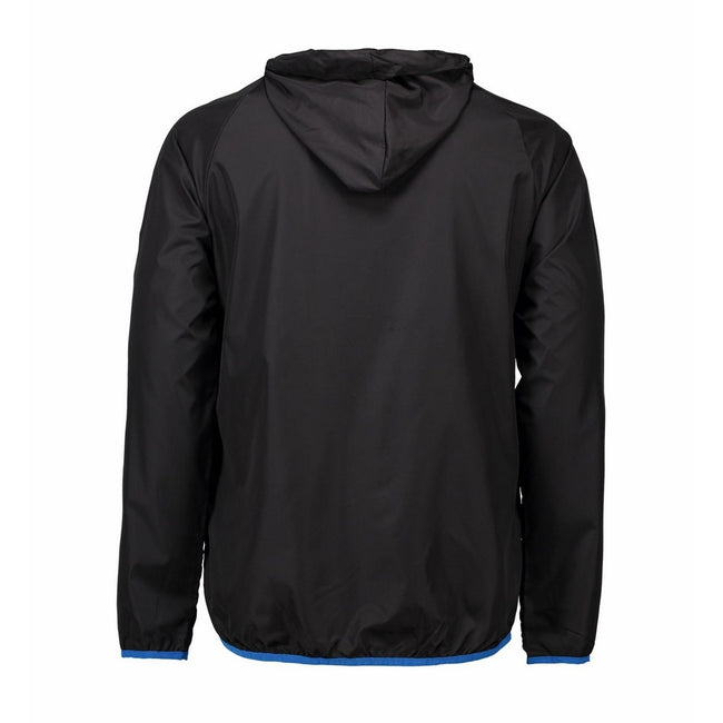 Black - Back - ID Mens Lightweight Fitted Windbreaker Jacket With Packaway Bag