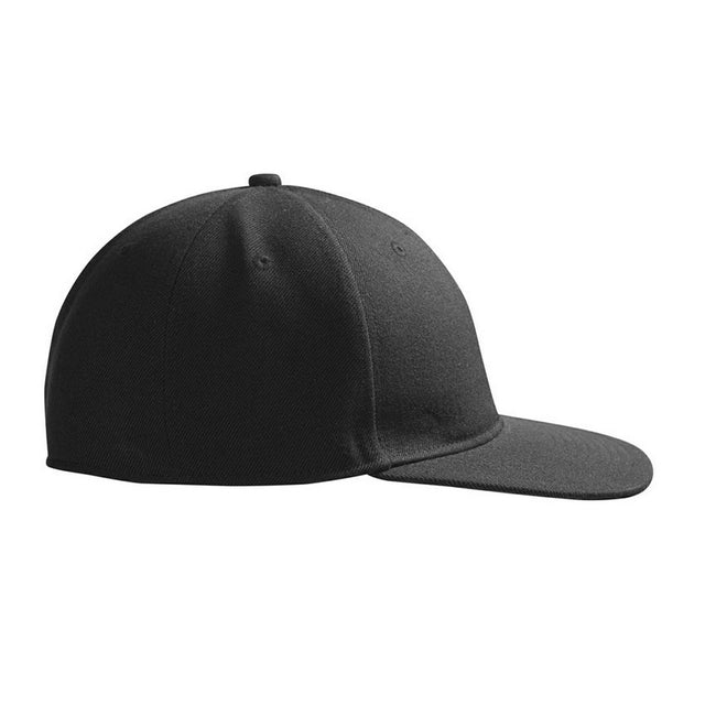 Black - Front - ID Childrens-Kids Modern Baseball Cap With Flat Shade