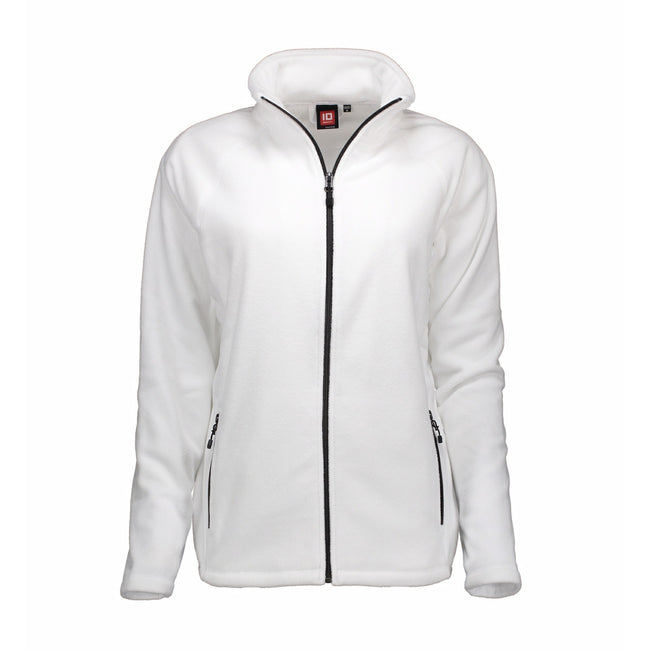 White - Front - ID Womens-Ladies Microfleece Full Zip Cardigan