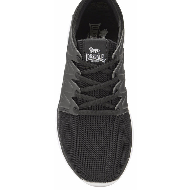 Black-White - Back - Lonsdale Womens-Ladies Peru Lace Up Trainers