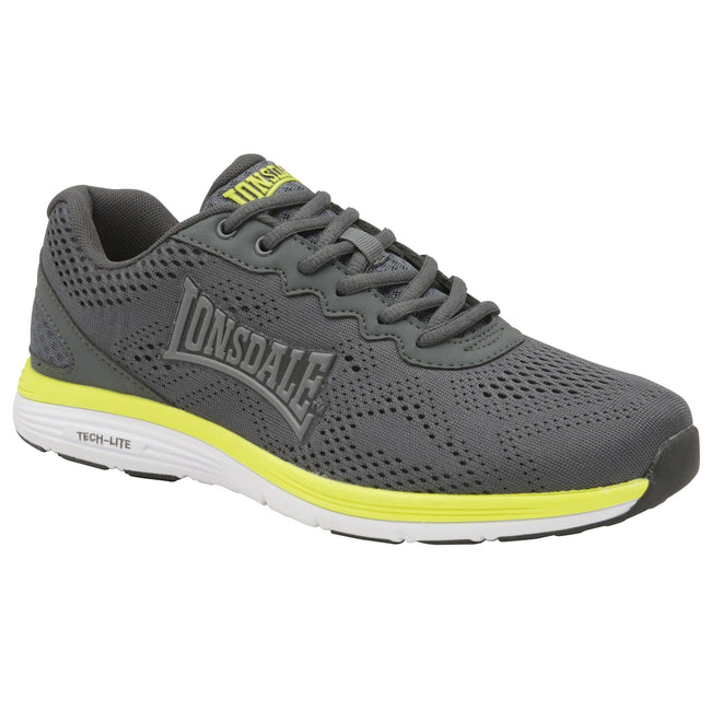 Grey-Volt-White - Front - Lonsdale Mens Lisala Trainers